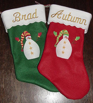 "One (1) - 17"" Personalized Embroidered Snowman Felt Christmas Stocking. - $12.95"