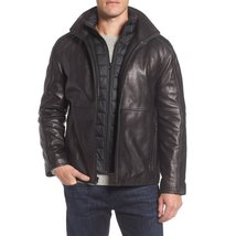 STAND COLLAR MEN MILITARY  LEATHER JACKET
