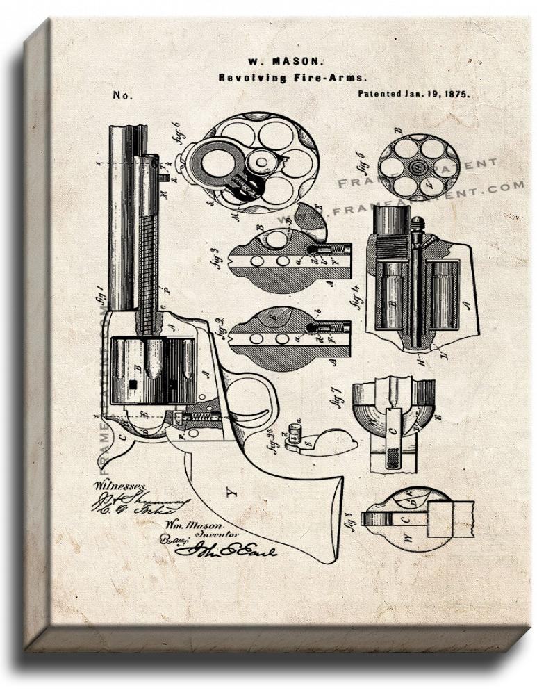 Primary image for Mason Revolving firearm Patent Print Old Look on Canvas