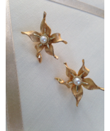 Vintage Marcel Boucher Numbered Gold Tone Flower Fashion Clip On Earrings  - $40.00