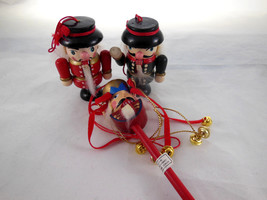 """2 1/2"""" Soldier Wooden Nutcracker Christmas Ornaments & one with bells on... - $10.39"""