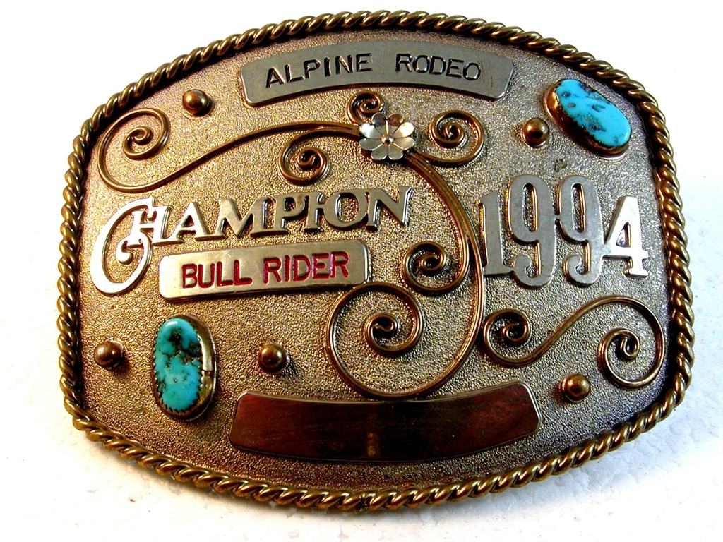 1994 Alpine Rodeo Champion Bull Rider Belt Buckle by Yellowhair Buckles