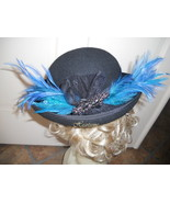 Hat Downton Edwardian style Derby bowler Black teal feathers womens OOAK - $39.00