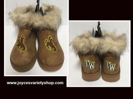 Wyoming University Boots Bucking Horse & Rider UW Logo Women's Many Sizes image 1