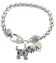 Custom Puppy Dog Silver Bracelet Jewelry Choose Family or Initial Charms Rescue - $14.87