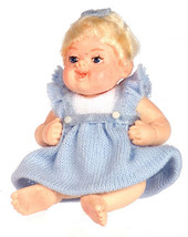 Dollhouse Miniature Molly In Blue Dress #A3979BL - $24.99