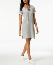 Style & Co. Women's Stormy Heather Grey French-Terry Lace-Up Dress Size ... - $24.74