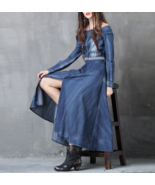 Ladies' Off The Shoulder Long Sleeves Denim Dress A82050 - $72.99+