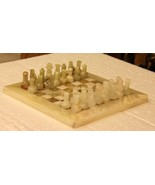 Chess Set Onyx Hand Made Fine Carved Vintage Look Collectible India - $464.55