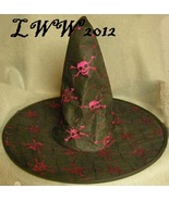 Pink Skull and Crossbones Black Adult Halloween Pointed Witch Hat  - $5.00