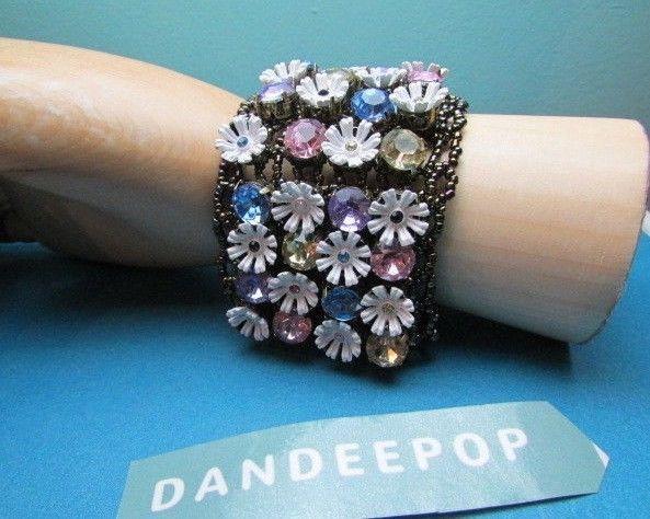 Betsey Johnson Daisy Flower & Pastel Crystal Mesh Stretch Bracelet Jewelry
