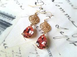 Peach Gem Earrings Gold Filigree Earrings Antique Gems Peach Teardrop Ge... - $48.00
