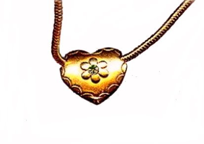 "Lovely 15"" Goldtone Choker Necklace with Heart"