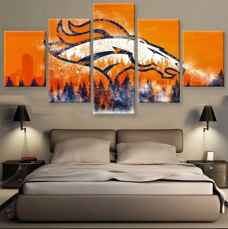 Denver Broncos Sports Team Fan 5 Piece Canvas Art Wall Art