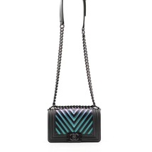 AUTH CHANEL SO BLACK IRIDESCENT LIMITED EDITION CHEVRON CALFSKIN SMALL BOY FLAP  image 2