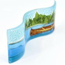 Fused Art Glass Lake River Canoe Lakefront Wavy Sun Catcher Handmade in Ecuador image 5
