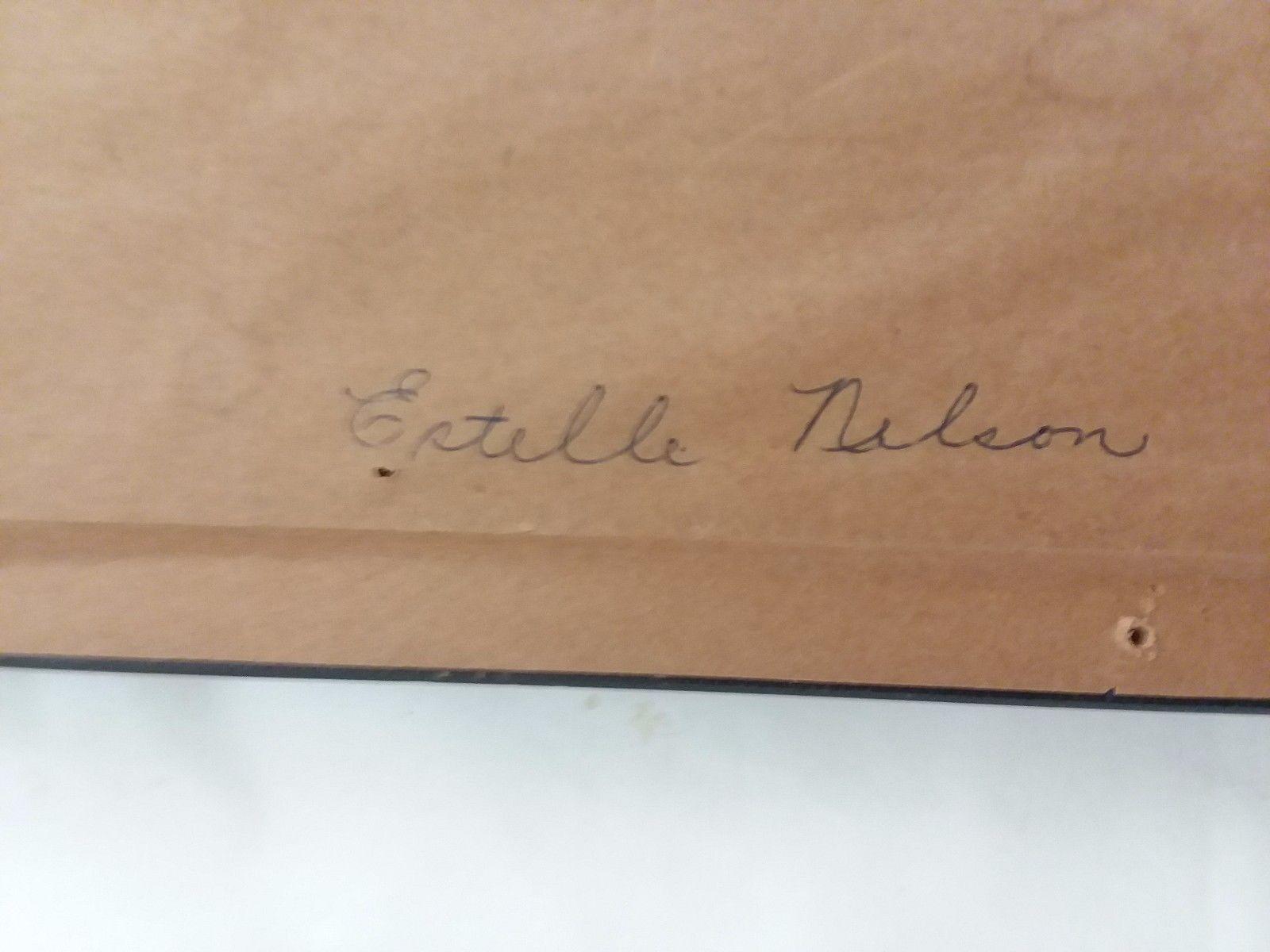 "Framed Art Driftwood Wall Hanging 36"" x 9"" Signed Estelle Nelson"