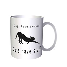 Funny Dogs Have Owners Cats Have Staff Novelty   11oz Mug a26 - $203,52 MXN