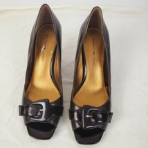Bandolino Pumps 6M Brown Patent Leather Platform Buckle Open Toe Heels Career - $22.79