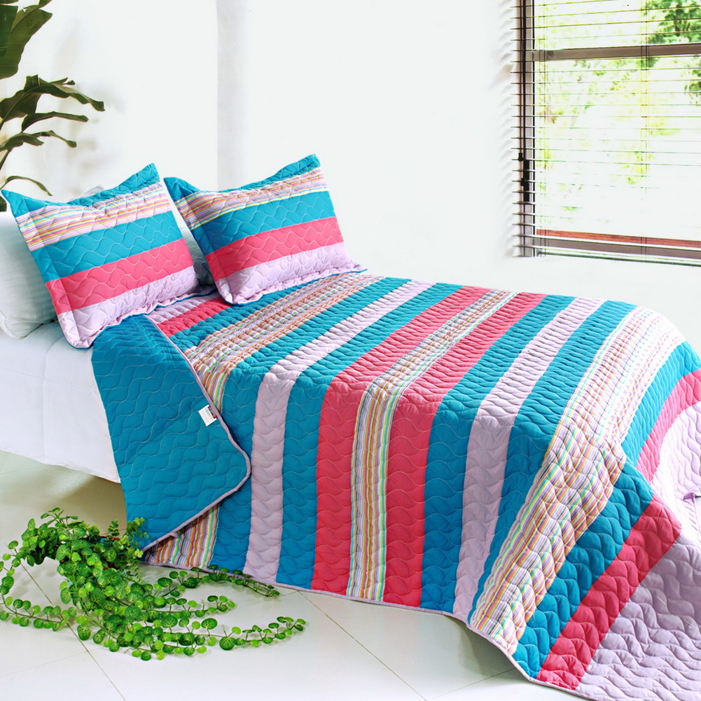 colorful sky 3pc striped quilt set full queen size quilting. Black Bedroom Furniture Sets. Home Design Ideas