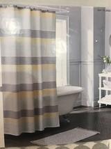 Threshold Pattern Stripe Shower Curtain Gray Beige White New - $20.21