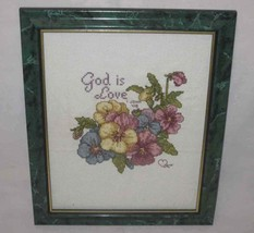 """Neat 8"""" X 10"""" Cross Stitch Picture God Is Love - £38.00 GBP"""