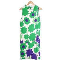 Diane von Furstenberg White Green Silk Dress Knee Length Sleeveless Bodycon Sz S - $135.26