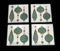 4 CONSTANTINA Turquoise Gold Paisley Ornaments 222 Fifth Square Salad Pl... - $47.99