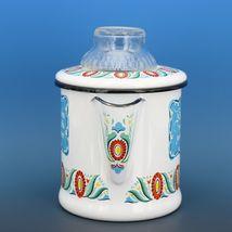 "Vintage Berggren Sweden Porcelain Enamelware Coffee Pot Percolator 6"" 2 Cup image 4"