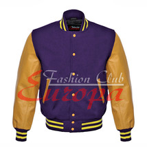 Original American Varsity Real Leather Letterman College Purple Wool Jacket - $87.00
