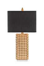 Catalina 19104-000 3-Way 28.75-Inch Square Gold Spiked Table Lamp with Rectangul