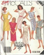 2983 Uncut Vintage Mc Calls Sewing Pattern Misses Dress Tie Belt Easy Basics Oop - $6.99