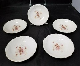 "Vintage Fine China Bowl: Set of 5 Bowls, w Woman & Flowers, 5"" Dishes - $14.50"