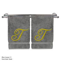 Monogrammed Washcloth Towel,13x13 Inches - Set of 2 - Gold Script - T - $27.99