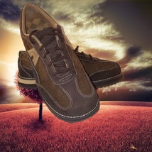 AirWalk Sneakers Brown Corduroy Tan Stitches suede sides Rubber Soles Wo... - $42.16