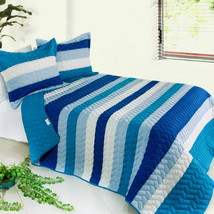 [Blue Sky] 3PC Striped Quilt Set (Full/Queen Size) - $105.99