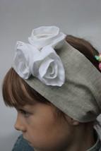 Linen organic Headscarf Headband,  Hair Band Headscarves with  white roses Head  - $12.00