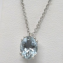 Necklace White Gold 750 18K, Aquamarine Oval, Carat 1.13, Chain Rolo ' image 1