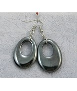 "Handcraft gems Hematite silver gold dangle clip back hoop EARRING 2"" - $8.50"