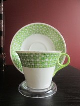 Vintage HAND PAINTED NC JAPAN Tea CUP SAUCER Chartreuse Green Fish Scale... - $11.83