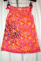 HANNA ANDERSSON Orange Pink Floral Ribbon Tie Pillowcase Sun Dress Sz 11... - $11.98