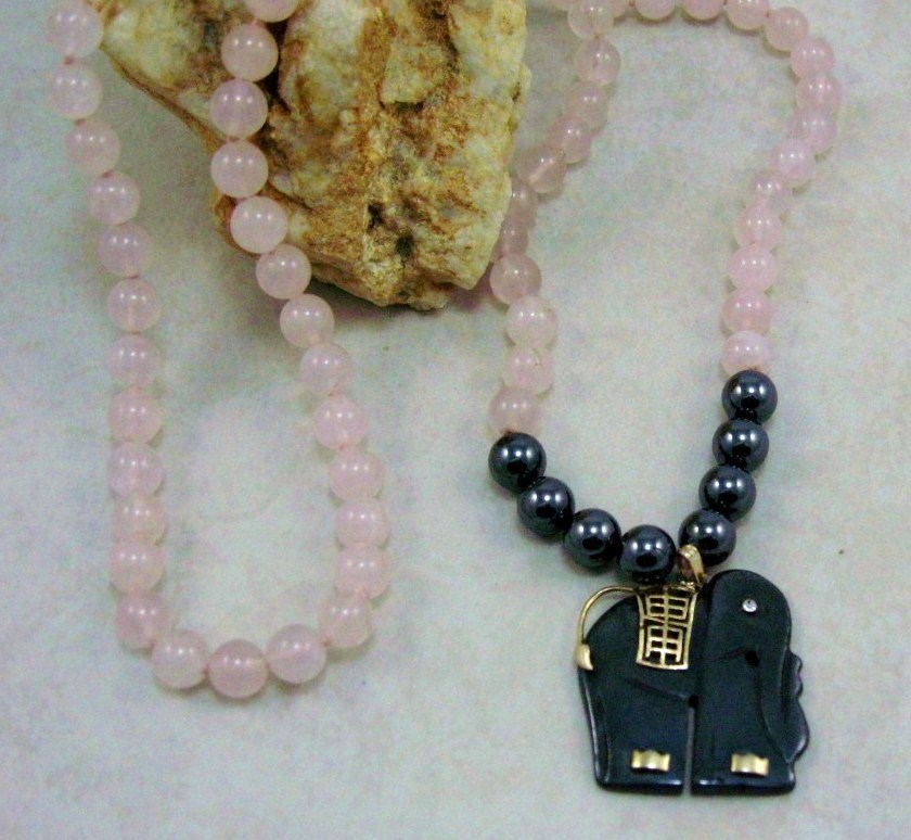 HANDCRAFT GEM Rose Quartz/Hematite Pendant NECKLACE 28""