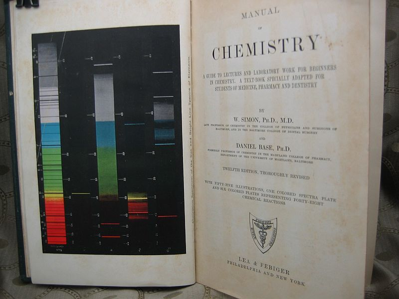 Manual of Chemistry by W. Simon and Daniel Base 1923