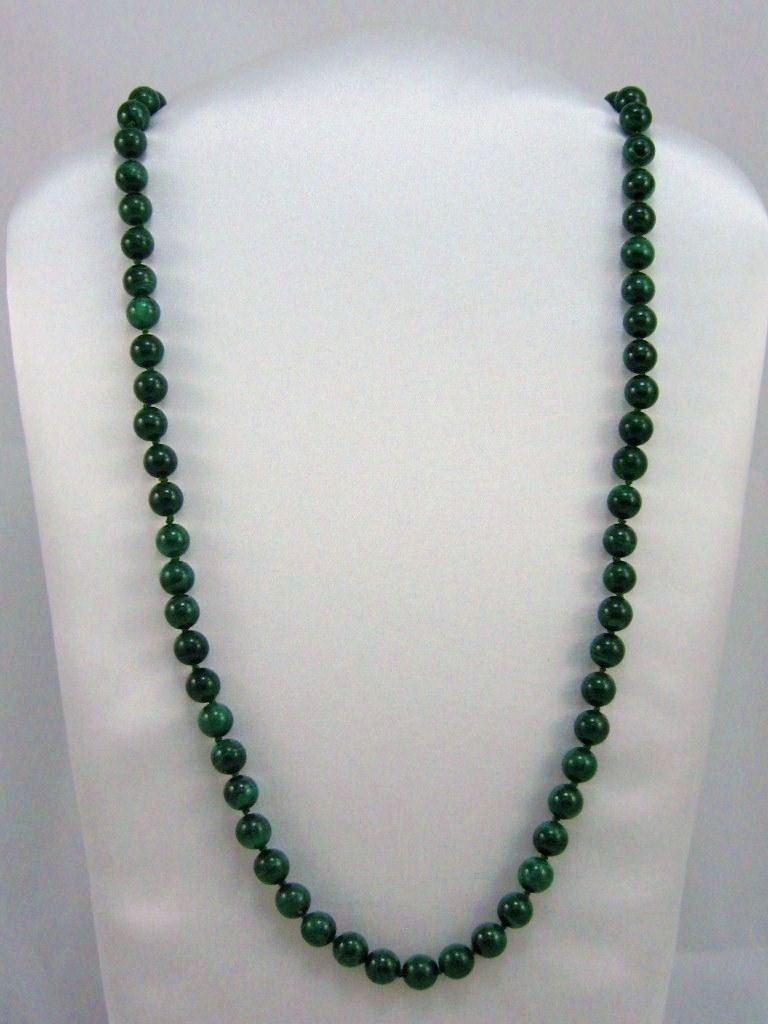 UNIQUE HANDCRAFT GENUINE GEMSTONE AA Malachite 8mm BEADS knotted NECKLACE 28""