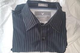 American Eagle Men Shirt XL Long Sleeve Button Down Blue Striped Vintage Fit - $18.69