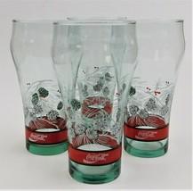 4 Coke Coca-Cola Drinking Glasses 15 Oz Winter Pine Cone Christmas Glass - $33.66