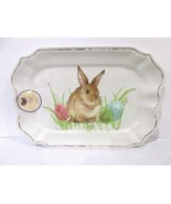 WELL DRESSED HOME EASTER BUNNY MELAMINE LARGE SERVING TRAY PLATTER RABBIT - $42.83 CAD