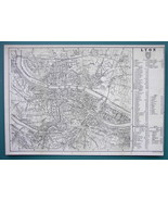 "1874 MAP BAEDEKER - FRANCE Lyon City Plan 9 x 12.5""  (23 x 32 cm) - $14.85"