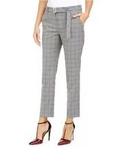 Calvin Klein Women's Petite Pants Windowpane-Print Belted Dress Pant Gra... - $29.99