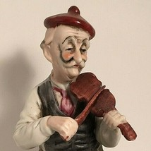 """HAND PAINTED VINTAGE PORCELAIN FIGURINE OLD MAN PLAYING VIOLIN 6.5X3X3"""" ... - $17.77"""